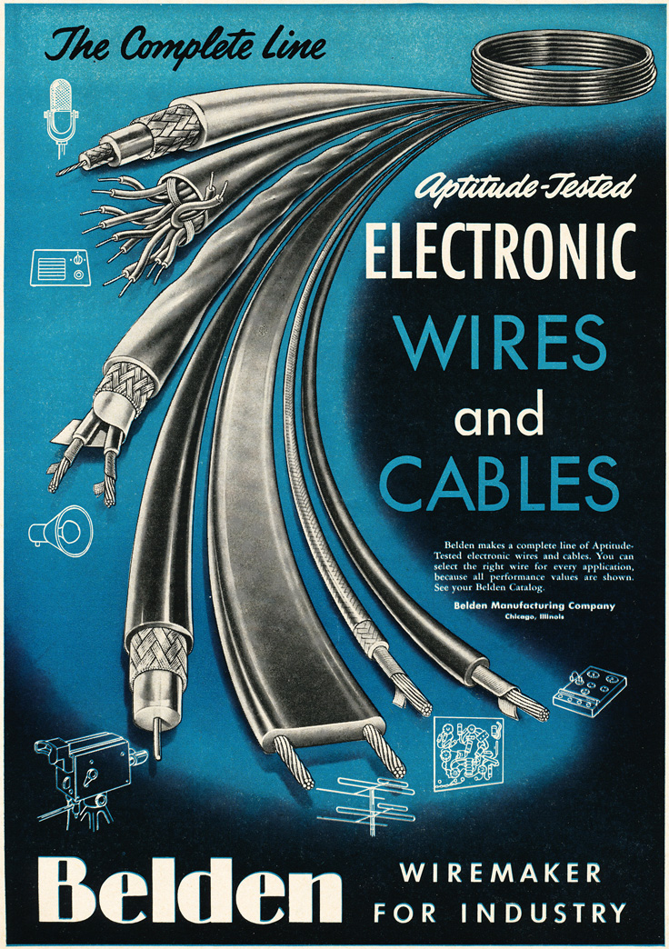 1954 ad for Belden wire and cables in Reel2ReelTexas.com's vintage recording collection