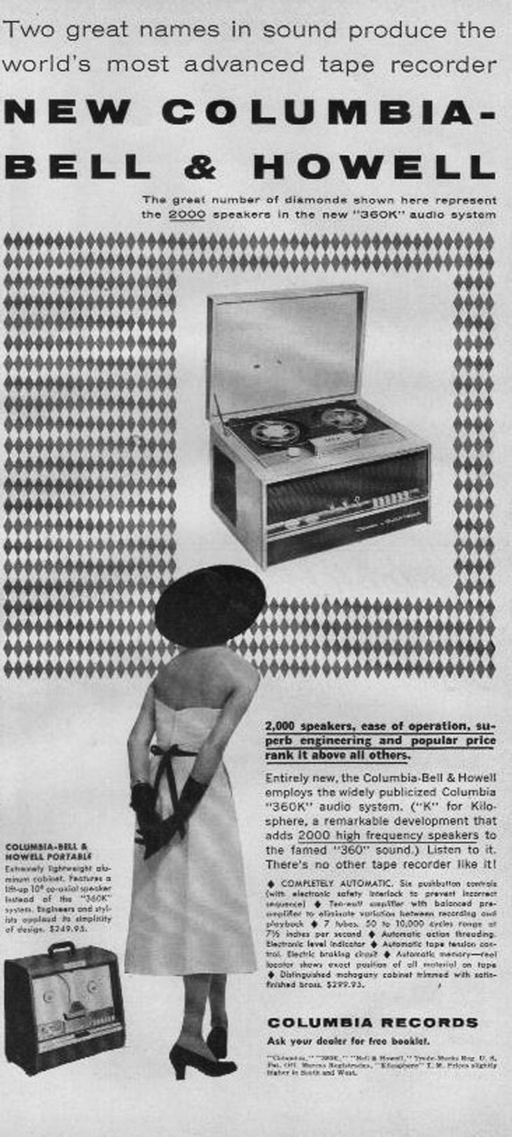 1954 ad for Bell & Howell reel tape recorder in Reel2ReelTexas.com's vintage recording collection