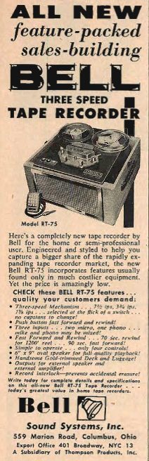 1954 Bell Sound Systems tape recorder ad in Reel2ReelTexas.com's vintage recording collection