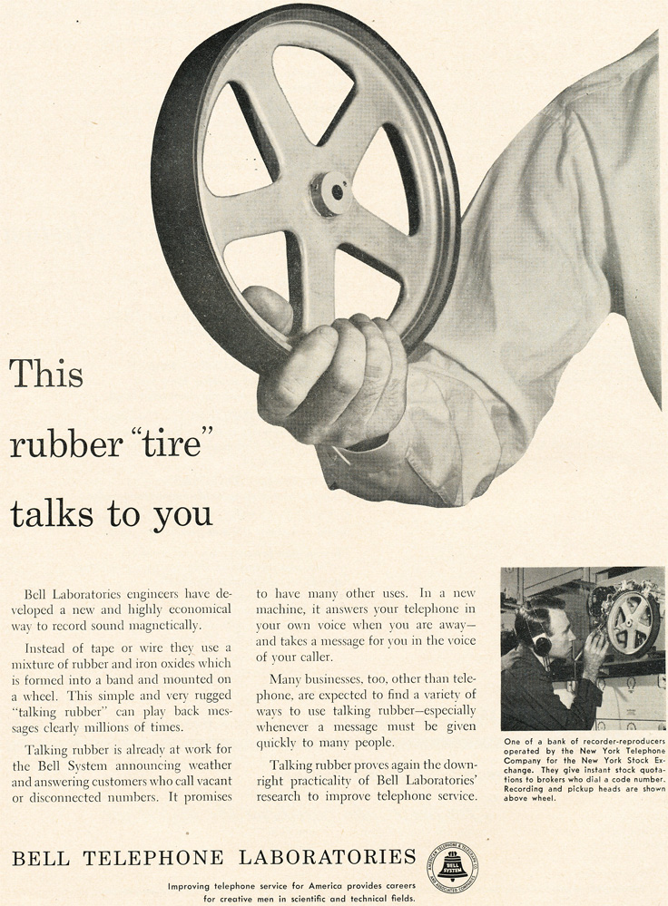 1954 Bell Labratories ad for the development of the rubber recording reel in   Reel2ReelTexas.com's vintage recording collection