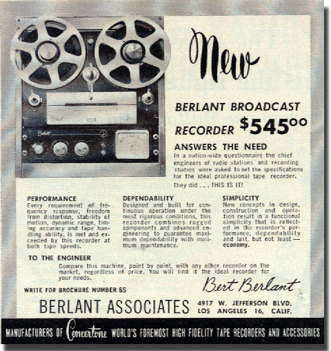 1954 ad for the Berlant Broadcast reel to reel tape recorder in Reel2ReelTexas.com's vintage recording collection