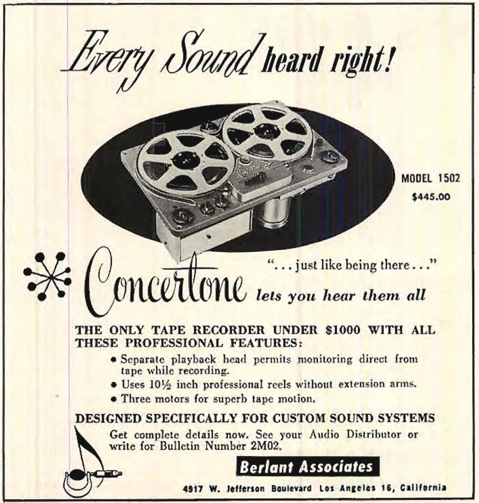 1954 ad for the Concertone 1502 reel to reel tape recorder in Reel2ReelTexas.com's vintage recording collection