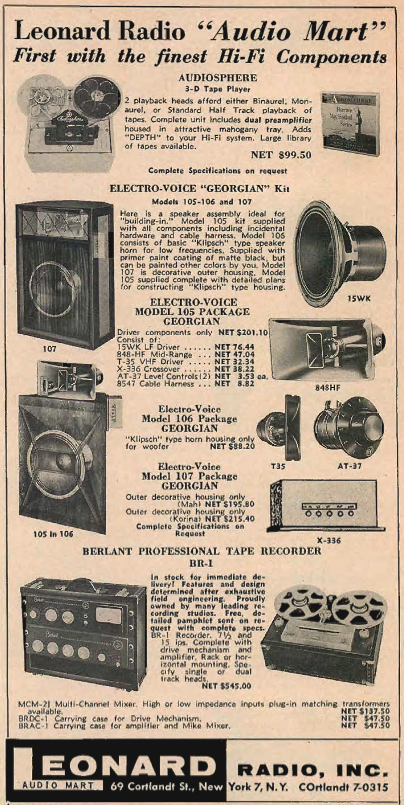 1954 Harvey's ad featuring Berlant professional reel to reel tape recorders in Reel2ReelTexas.com's vintage recording collection