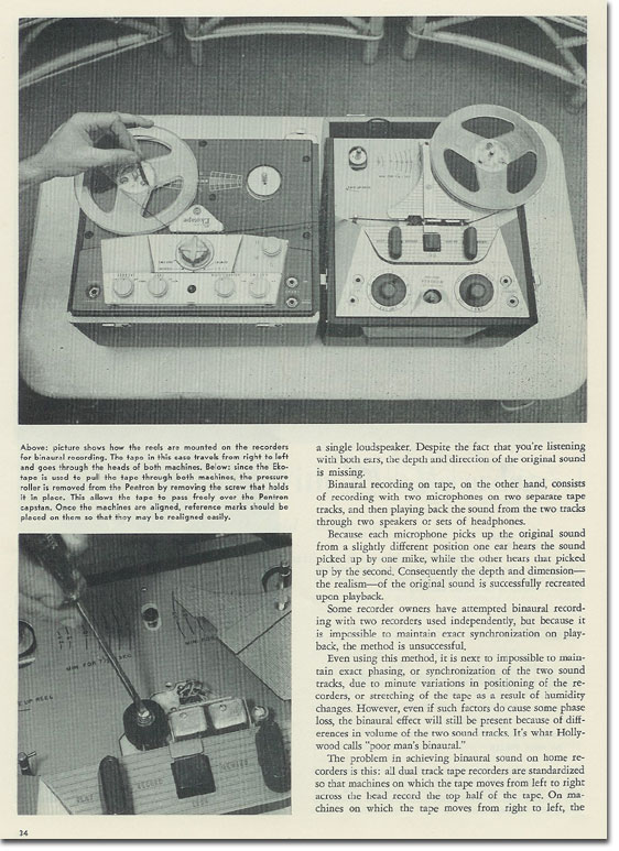 article from 1954 Tape Recording magazine about how to create binaural recordings