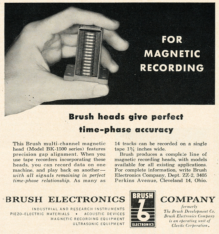 1954 ad for the Brush 14 track reel to reel tape recording head block in Reel2ReelTexas.com's vintage recording collection