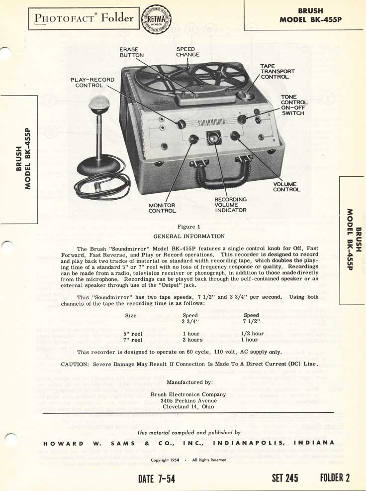 1954 fact sheet for the Brush BK-455 reel tape recorder in Reel2ReelTexas.com's vintage recording collection