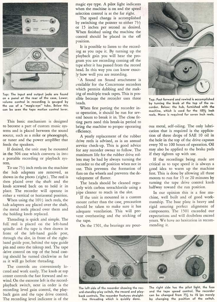 Page 2 of the 1954 review of the Concertone 1501 reel to reel tape recorder in Reel2ReelTexas.com's vintage recording collection