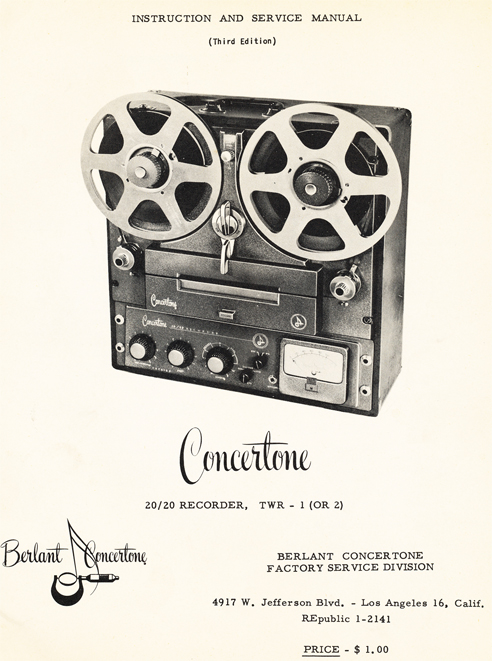 Berlant Concertone 20/20 manual cover in Reel2ReelTexas.com's vintage reel tape recorder collection