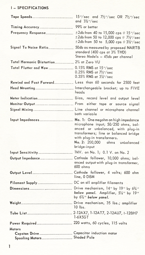 1954 Concertone 20 manual page showing specification  in Reel2ReelTexas.com vintage tape recorder collection