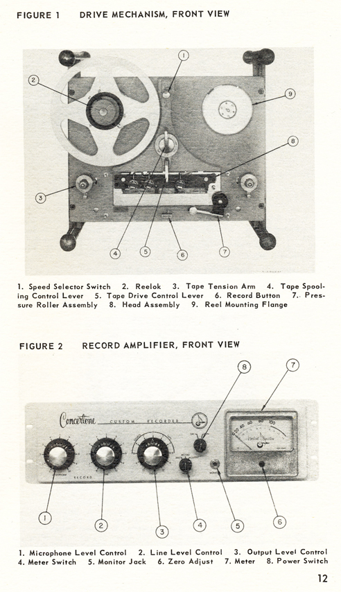 1954 Concertone 20 manual page showing controls in Reel2ReelTexas.com vintage tape recorder collection