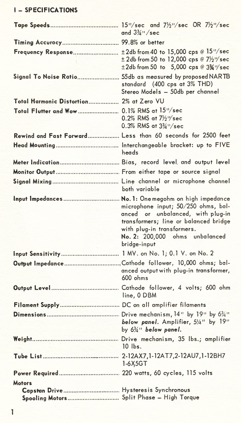 1954 Concertone 30 manual page showing specification  in Reel2ReelTexas.com vintage tape recorder collection