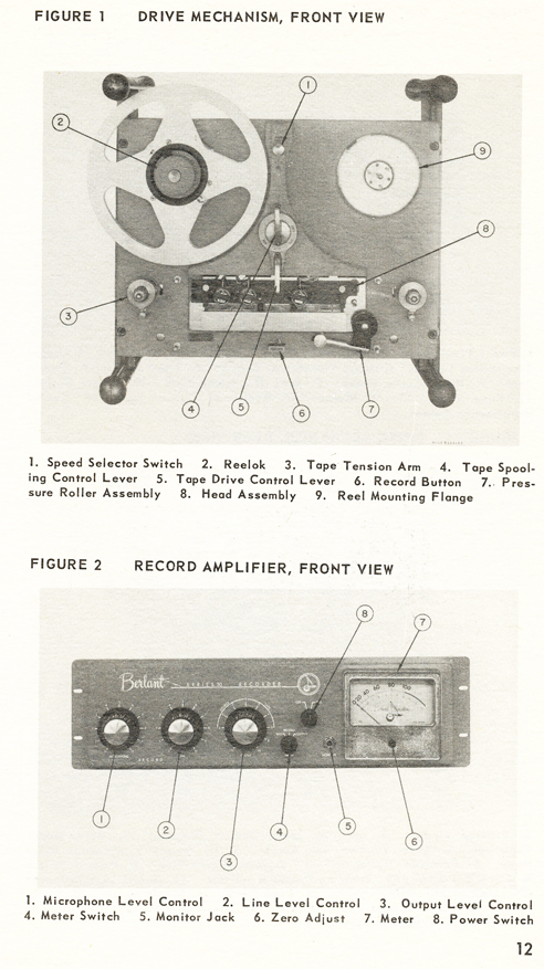 1954 Concertone 30 manual page showing controls in Reel2ReelTexas.com vintage tape recorder collection