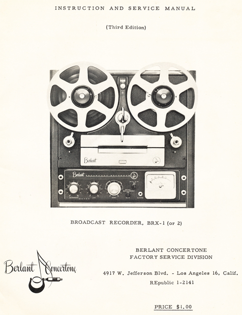 BerlantConcertone Broadcast BRX-1 manual cover in Reel2ReelTexas.com's vintage reel tape recorder collection