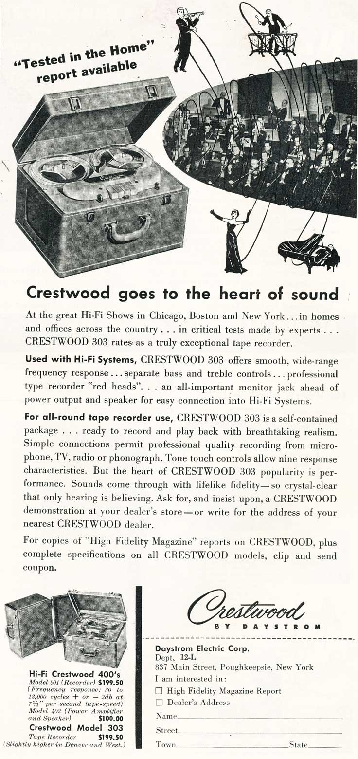 1954 ad for the Crestwood reel to reel tape recorder in Reel2ReelTexas.com's vintage recording collection