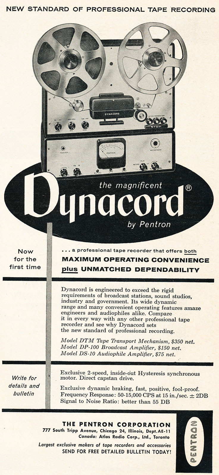1954 ad for the Pentron Dynacord reel to reel tape recorder in   Reel2ReelTexas.com's vintage recording collection