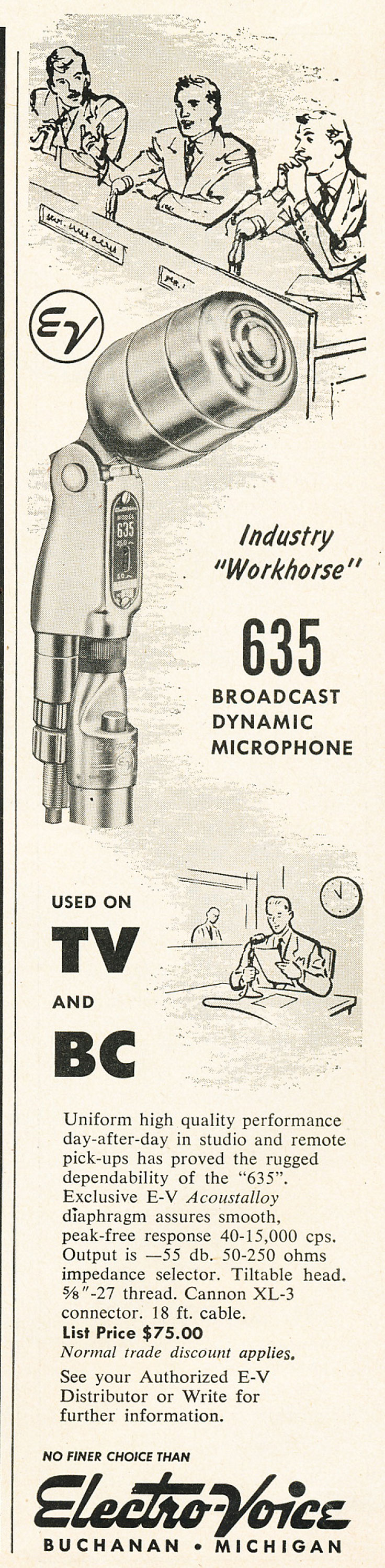 1954 ad for the Electro Voive 635 microphone in Reel2ReelTexas.com's vintage recording collection