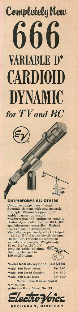 1954 ad for the Electro Voive 666 microphone in Reel2ReelTexas.com's vintage recording collection