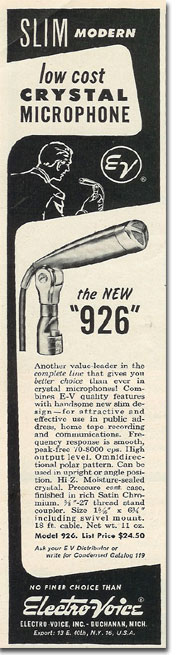 1954 Electro Voice 923 microphone ad