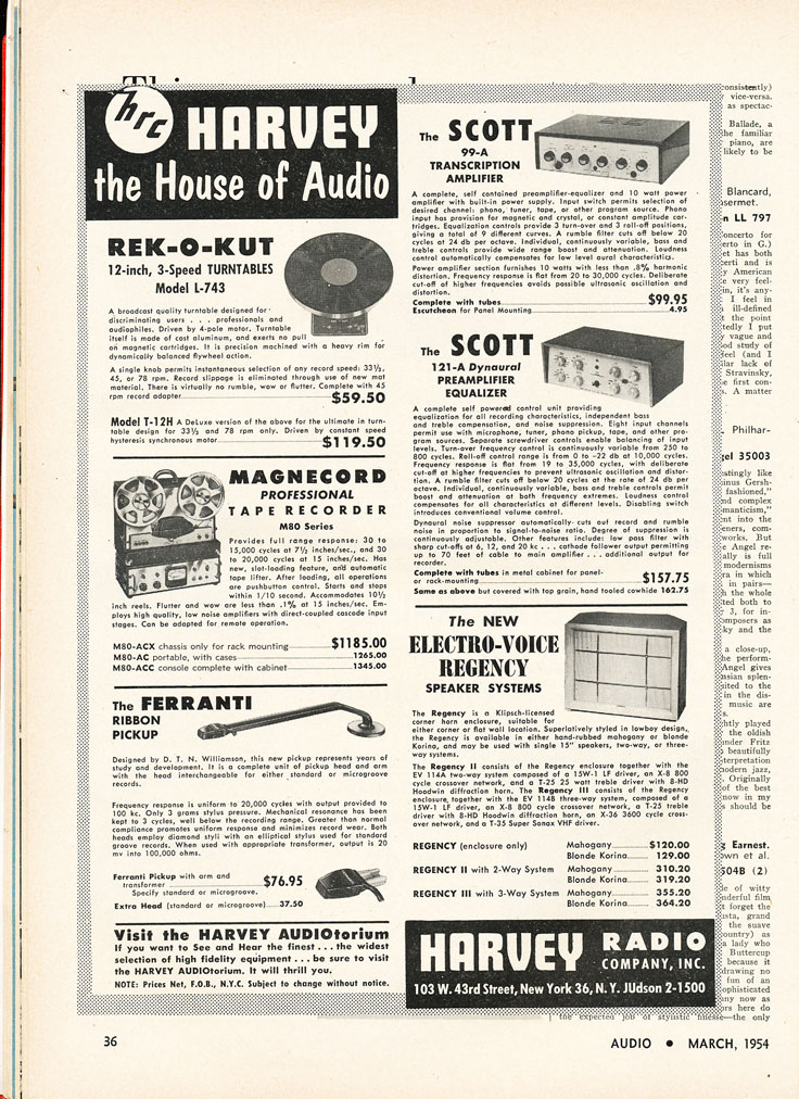 1954 Harvey Electronics ad featuring Magnecord in Reel2ReelTexas.com's vintage recording collection