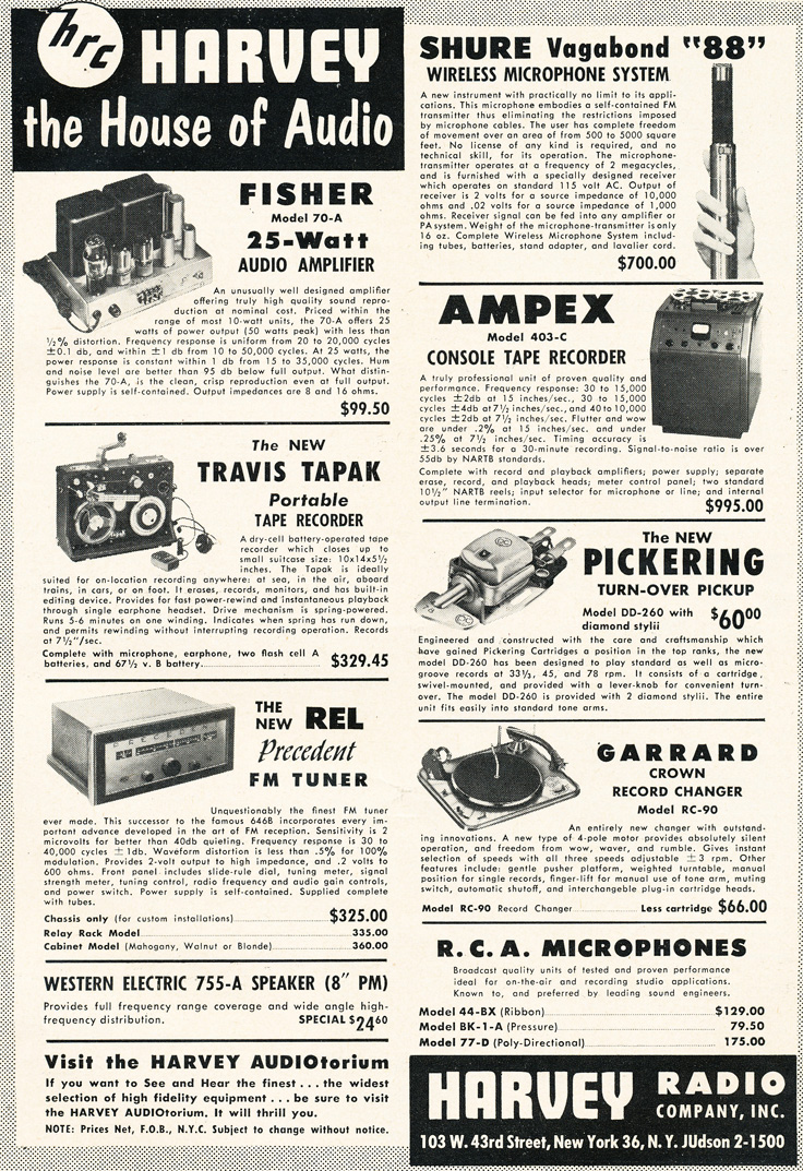 1954 Harvey's ad featuring Shure and Ampex  in Reel2ReelTexas.com's vintage recording collection