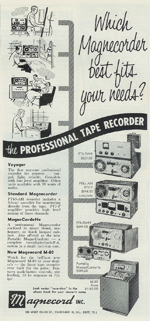 1954 Magnecorder reel tape recorder ad