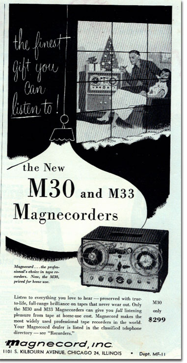 1954 ad for the Magnecord M30 and M33  reel to reel tape recorder in Reel2ReelTexas.com's vintage recording collection