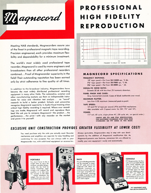 1954 Magnecord tape recorder brochure in Reel2ReelTexas.com's vintage recording collection page 2