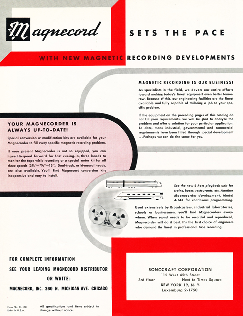 1954 Magnecord tape recorder brochure in Reel2ReelTexas.com's vintage recording collection page 8