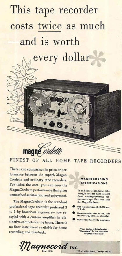 1954 ad for the Magnecord Cordette reel to reel tape recorder in Reel2ReelTexas.com's vintage recording collection