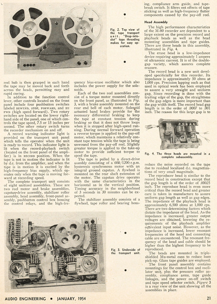 1954 review of the Magnecord M-80 professional reel to reel tape recorder in Reel2ReelTexas.com's vintage recording collection