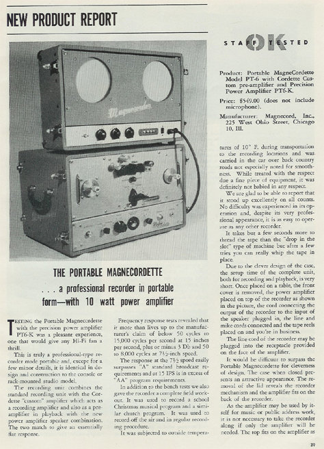 1954 review of the Magnecordette reel tape recorder in the phantom productions' vintage recording collection