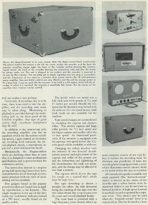 picture #3 of 1954 review of the Magnecordette reel tape recorder