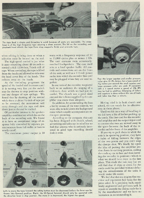 picture #4 of 1954 review of the Magnecordette reel tape recorder