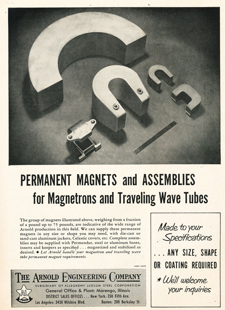 1954 ad for Arnold Engineering's magnets in Reel2ReelTexas.com's vintage recording collection