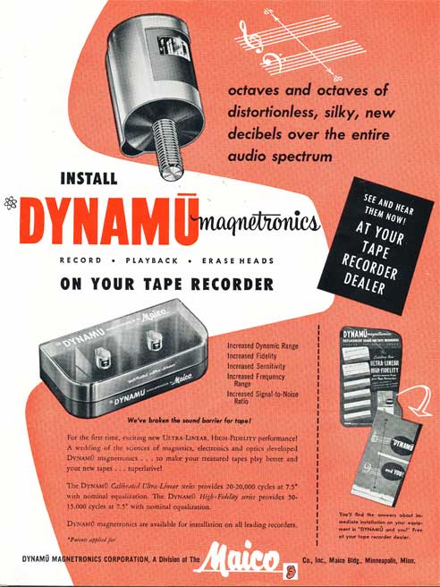 1954 ad for Maico tape recorder heads in Reel2ReelTexas.com's vintage recording collection