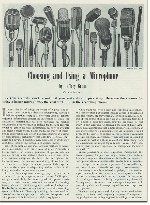 article about choosing the right microphone from 1954