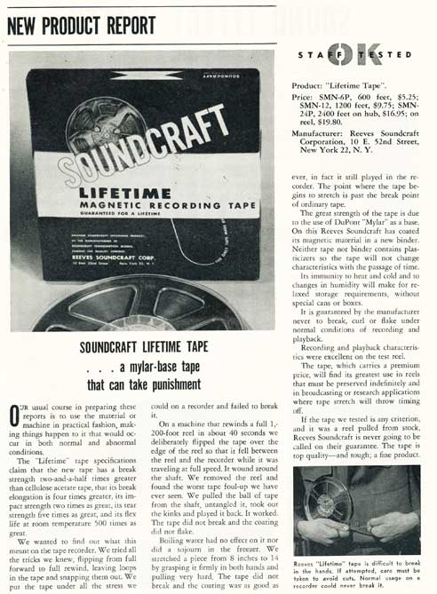 1953 ad for Reeves Soundcraft mylar reel recording tape in Reel2ReelTexas.com's vintage recording collection