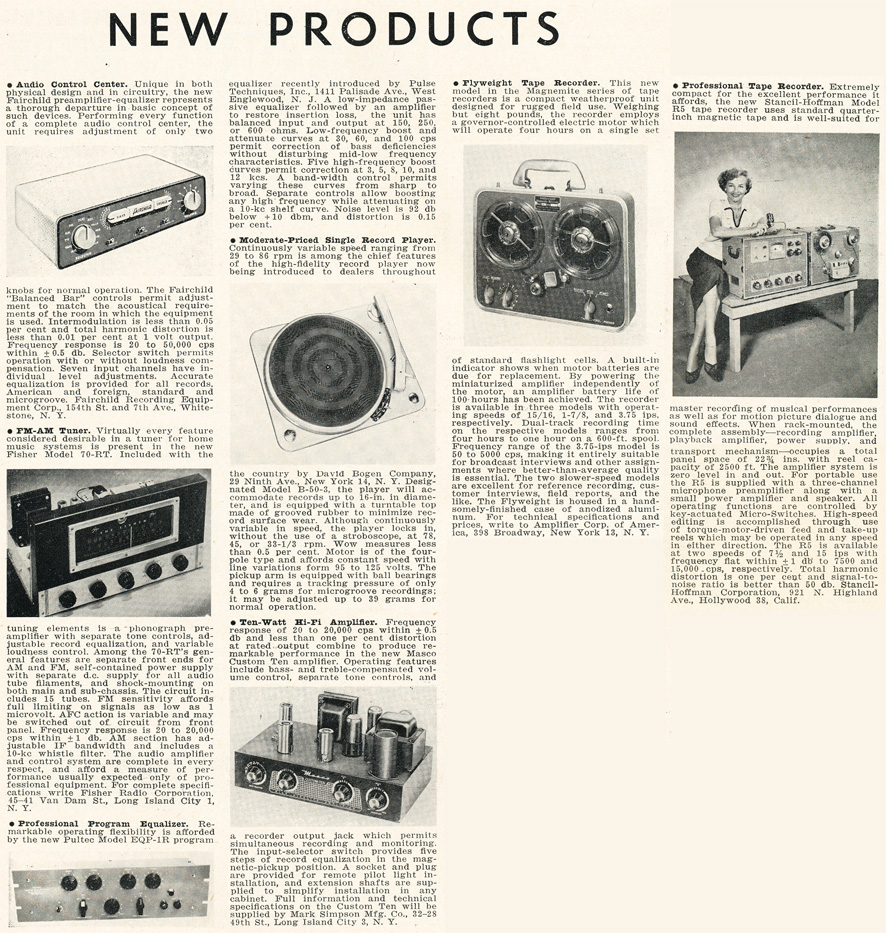 1954 listing of New Products in the Audio Engineering magazine in Reel2ReelTexas.com's vintage recording collection