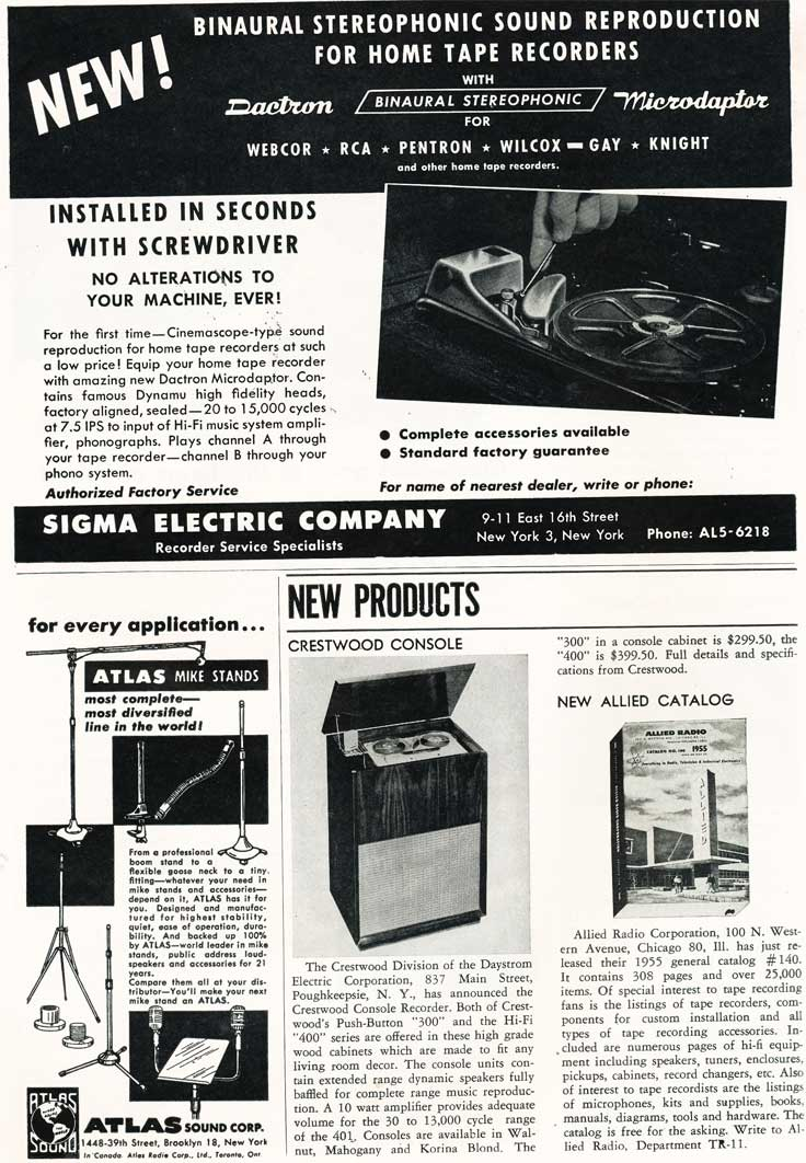 Page 9 of 1954 review of new products in the Film and Tape Recording magazine in Reel2ReelTexas' vintage recording collection
