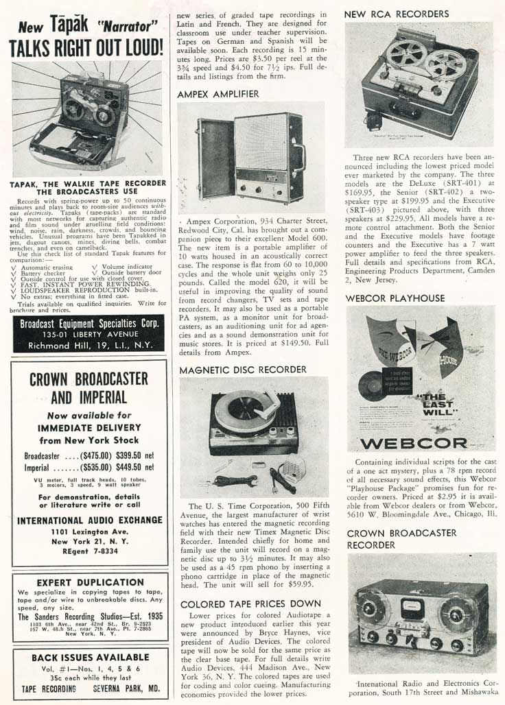 Page 11 of 1954 review of new products in the Film and Tape Recording magazine in Reel2ReelTexas' vintage recording collection
