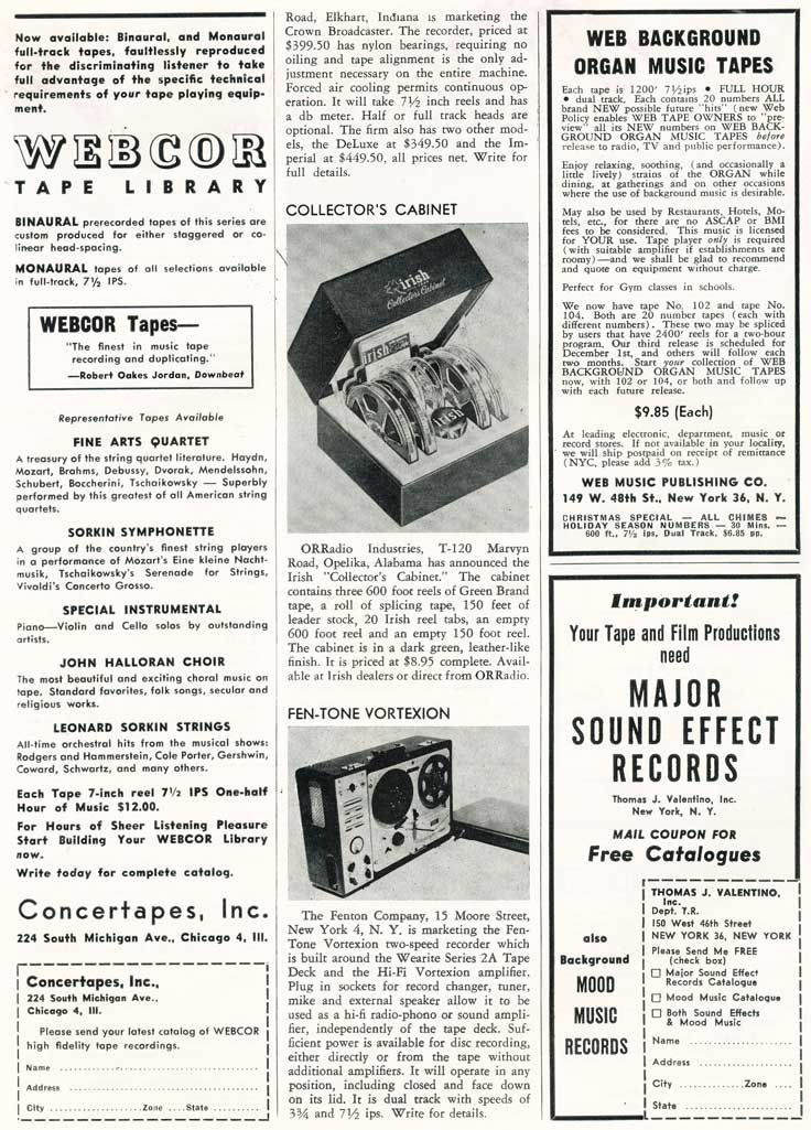 Page 12 of 1954 review of new products in the Film and Tape Recording magazine in Reel2ReelTexas' vintage recording collection