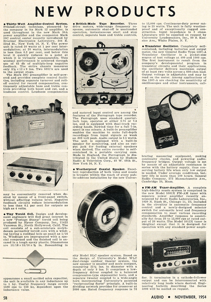1954 listing of New products in the   Phantom Productions' intage recording collection