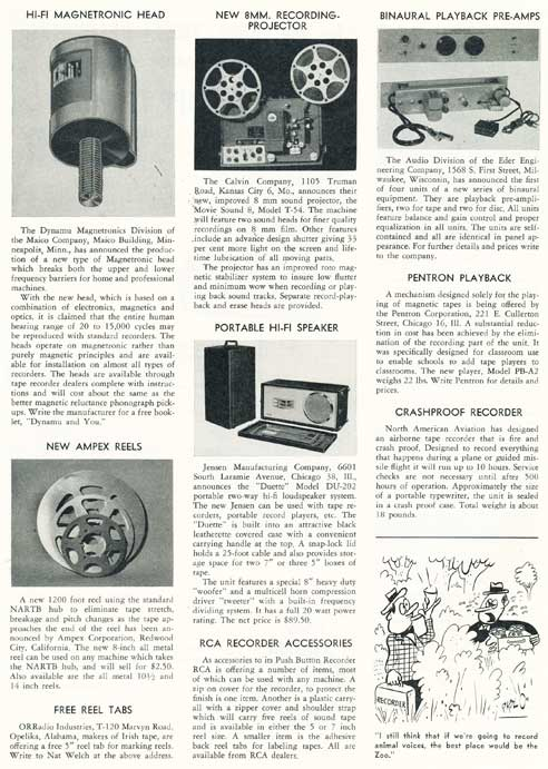 Page 8 of 1954 review of new products in the Film and Tape Recording magazine in Reel2ReelTexas' vintage recording collection