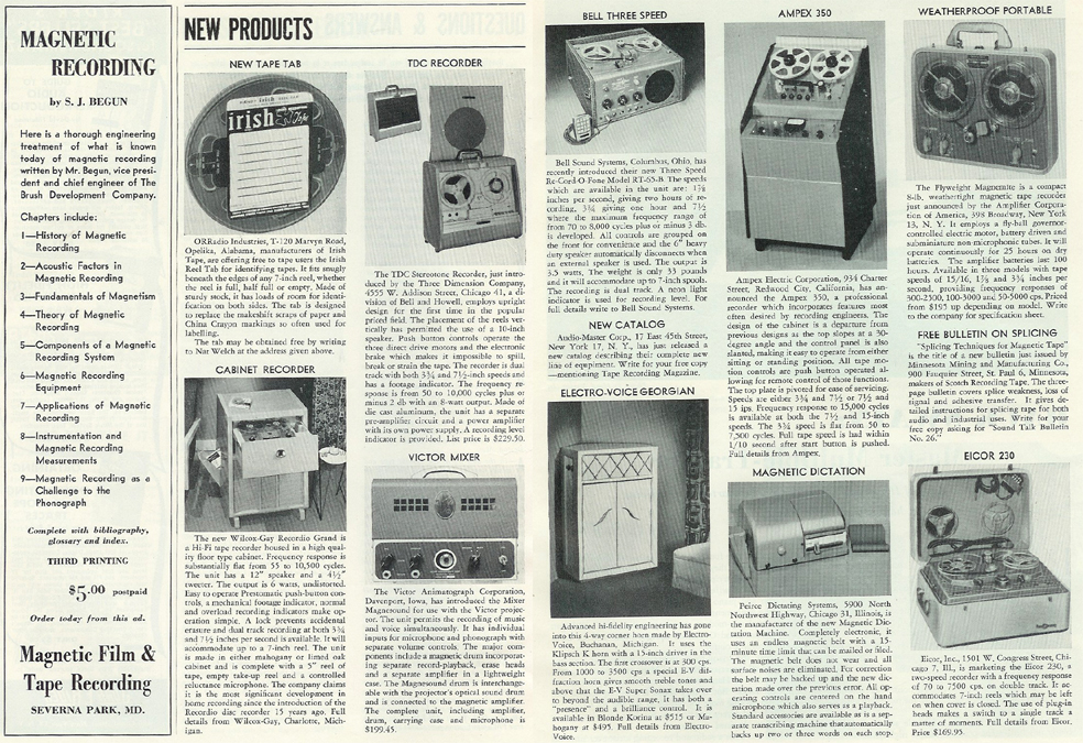 article on new reel tape equipment for 1954