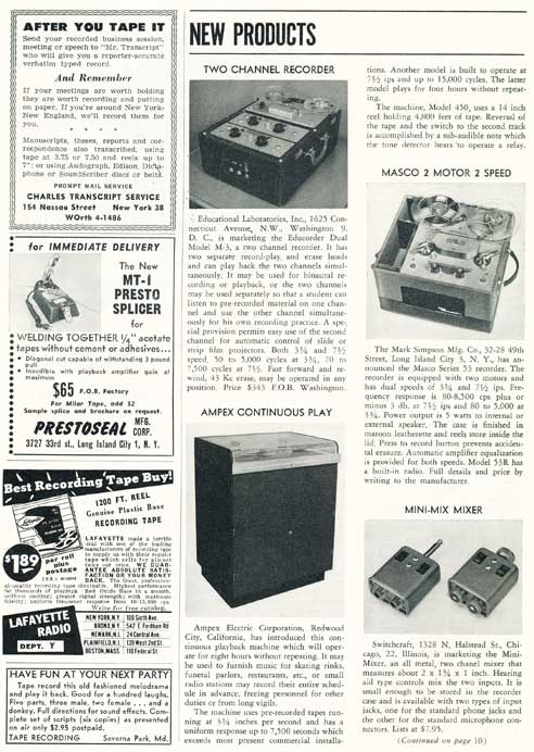 Page 5 of 1954 review of new products in the Film and Tape Recording magazine in Reel2ReelTexas' vintage recording collection