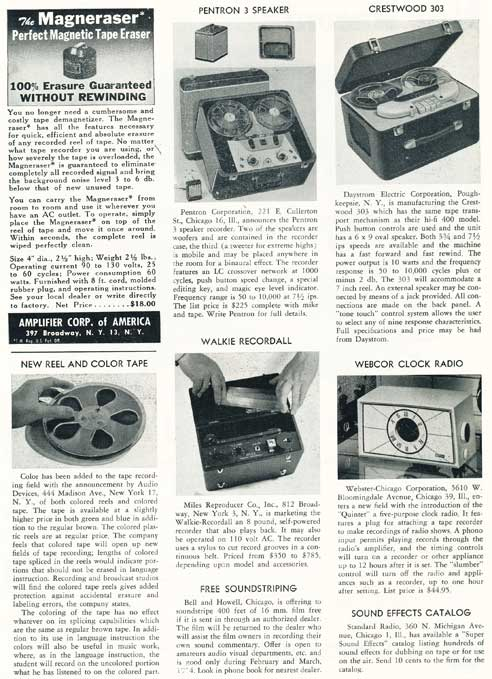 Page 6 of 1954 review of new products in the Film and Tape Recording magazine in Reel2ReelTexas' vintage recording collection