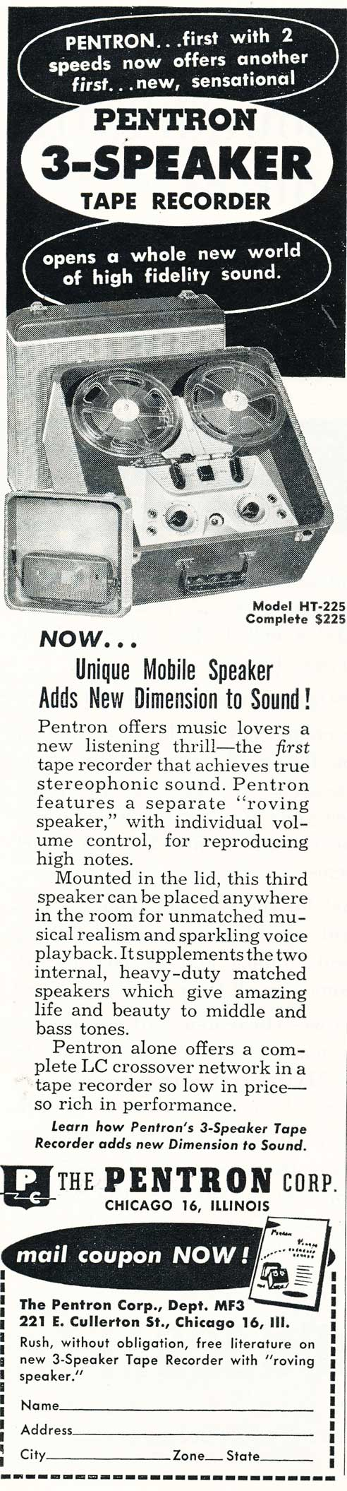 1954 ad for the Pentron reel to reel tape record in Reel2ReelTexas.com's vintage recording collection
