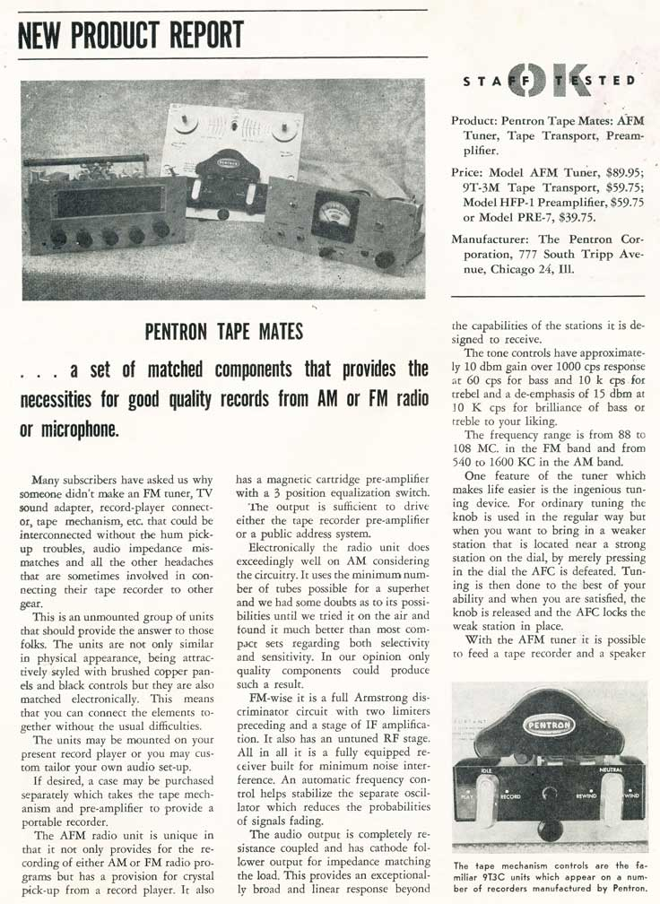 1954 review of Pentron Tape mates in   Phantom Productions vintage reel tape collection