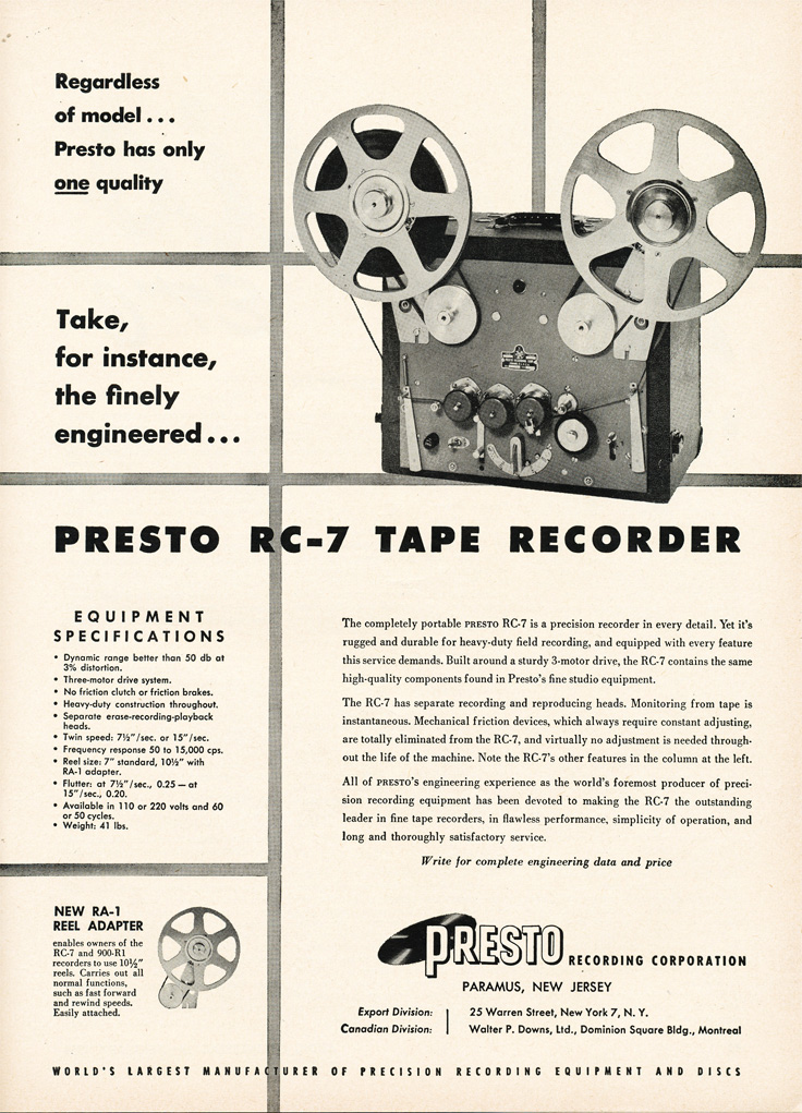 1954 ad for the Presto RC-7 professional reel to reel tape recorder in Reel2ReelTexas.com's vintage recording collection