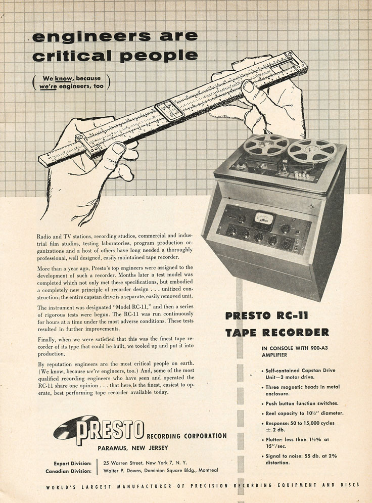 1954 ad for the Presto RC-11 reel to reel tape recorder in the   Reel2ReelTexas.com's vintage recording collection